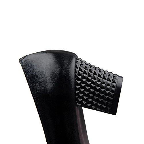 AllhqFashion Mujer Tacón medio Puntera En Punta Cuero de vaca Material suave ZapatosdeTacón Slip-on Negro