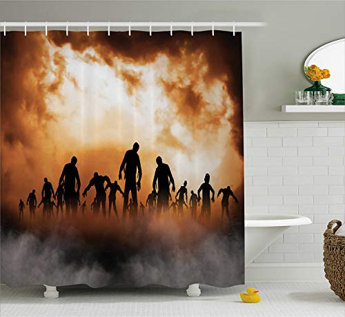 Ambesonne Halloween Shower Curtain, Zombies Dead Men Walking