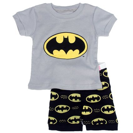 Gray Bat Boys Shorts 2 Piece Pajama Set 100% Cotton G6057,Gray,3T