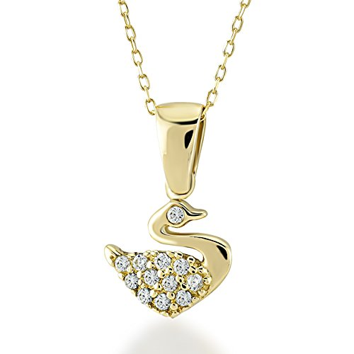 - Gelin 14k Solid Yellow Gold Swan Pendant with Cubic Zirconia Chain Pendant Necklace for Women - Mother's Day Fine Jewelry Gift, 18 inc