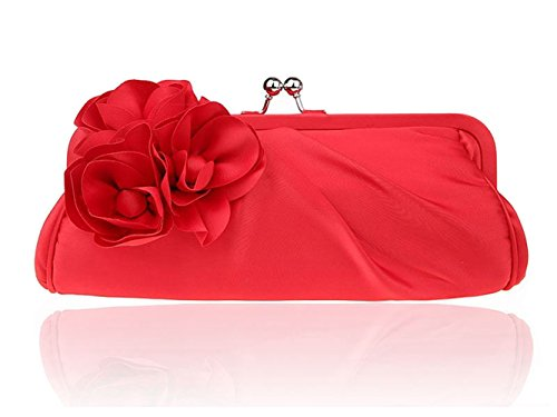 Party Vintage Envelope Flower Handbag Womens Big Evening Satin Cocktail Red nBROO0
