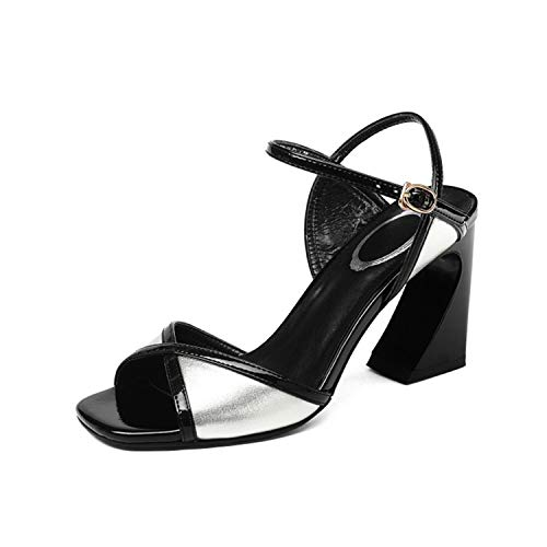 - EARIAL& Cross-Tied High Heels Sandals Women Peep Toe Fashion Party Genuine Leather Buckle Strap Woman Sandals Mixed Colors Pumps Silver 37