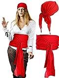 Halloween Pirate Costume Medieval Renaissance Linen Pirate Bandana and Large Sash Costume Waist Belt Accessory (Red)