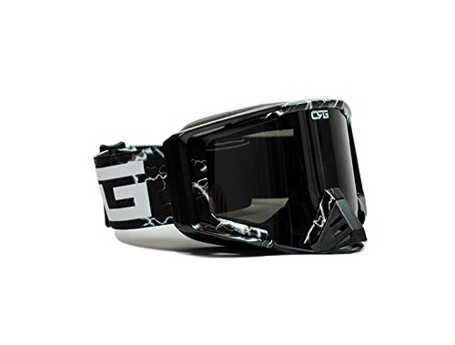 CRG Motocross ATV Dirt Bike Off Road Racing Goggles Adult T815-105 Series (Black)