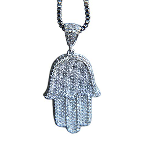 """MOLEK Gold Silver Color Micro Pave Bling Cubic Zirconia Hamsa Hand Pendant Necklace Hip Hop Iced Out Jewelry for Men and Women with 24"""" Box Chain (Silver)"""