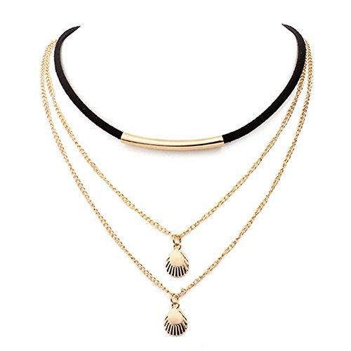 YAZILIND Corea terciopelo multi-capa de cadena de collar gargantilla de metal Shell colgante collar de encaje de joyería de...