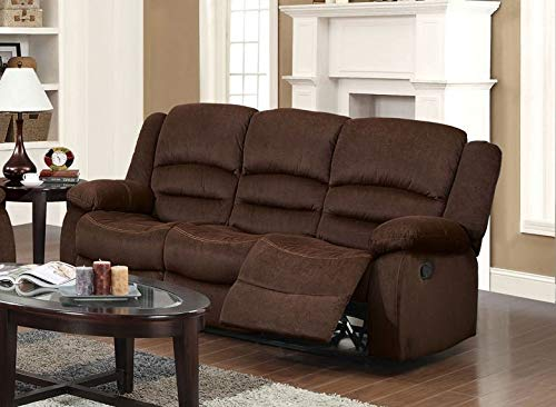 (Esofastore Bailey Chocolate Velvet Set 2pc Reclining Sofa Set Motion Sofa & Loveseat Couch)
