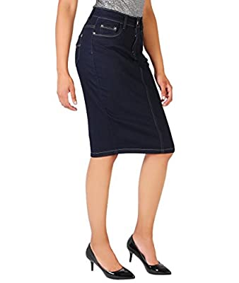 KRISP Women Denim Skirt Classic Stretch Pencil A-Line Office Skirts