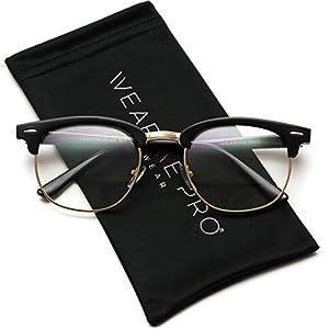 Vintage Inspired Classic Half Frame Horn Rimmed Clear Lens Glasses Optical Quality