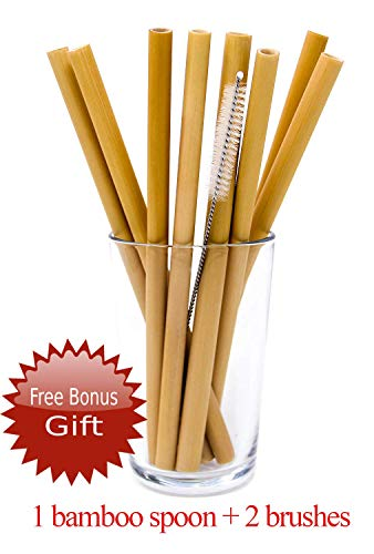 Organic Reusable Bamboo Straws For Kids and Adults With 2 Brushes | Eco Friendly | Bpa-free | Biodegradable | Handcrafted Natural Alternative To Plastic, Paper And Stainless Steel (8pcs)