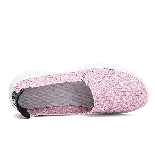comode Resistente Slip Lazy Pigre Allacciare Tempo Suole Rosa B da Libero Scarpa Scarpe Donna Sportiva Piatto feiXIANG Scarpe Traspiranti Tessuto Il Casual Sportive per PRRwSU
