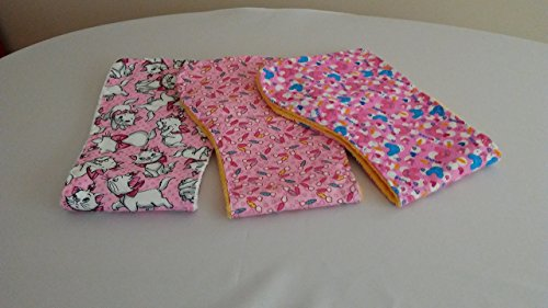 Reversible burp cloth / Kittens - Carrots - Rabbits / 3 PACK ()