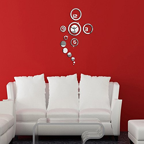 Decorative Wall DIY Sticker Clock, Modern Design Home Contemporary Large Mirrors Sticker for Living Room, Office, Meeting Room - Silver