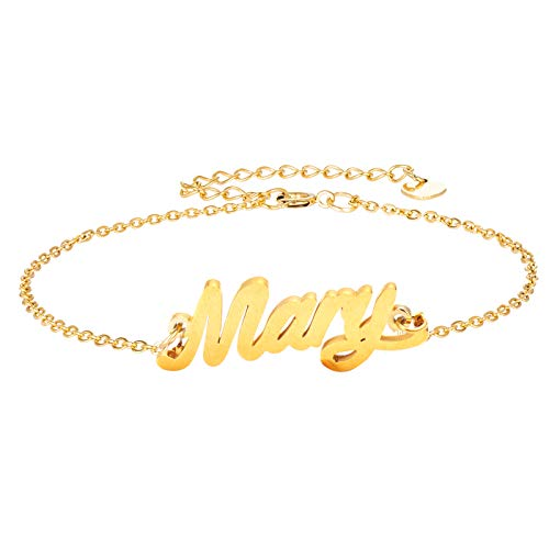 HUAN XUN Mary Name Bracelet for Womens Girls Jewelry Gifts Stainless Steel