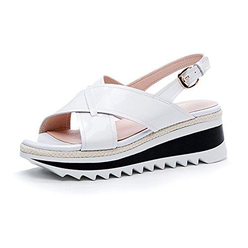 Hebilla White Verano Transpirable Sandalias L1520 KJJDE Cruz Cuero WSXY Chanclas Moda Cuña De Sandalias De Mujer De Correa Y tAYqUwt