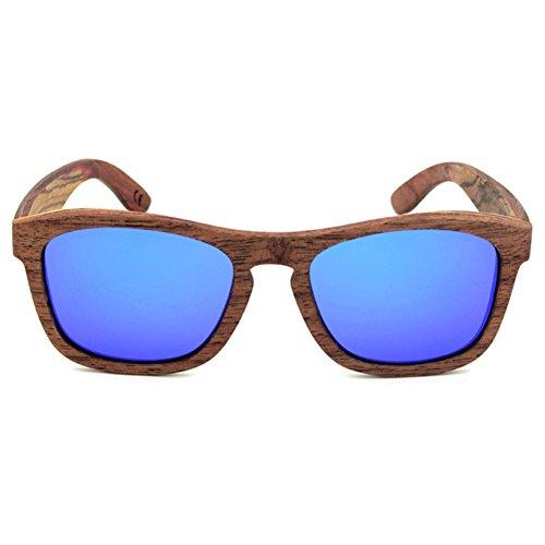 hibote Multilayer Plates Handmade Boisen Glasses Retro UV400 Polaris¨¦es Eyewear Bleu