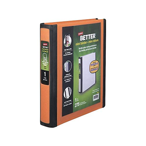 Staples Mini Binder Size 1 Inch, Color Orange & Black (20944) (Staples Mini Binder)