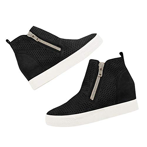 Ankle Faux 3 Booties black Platform Women's Sneakers Zipper Hidden Side Suede Wedges Perforated xzCOPFYq