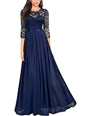 Kantenia Women's Vintage Formal Dress Lady Floral Lace Cocktail Evening Party Swing Bridesmaid Dress