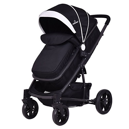Price comparison product image LordBee Black New Outdoor Use 3 In1 Foldable Baby Kids Toddler Travel Stroller Multi-Position Backrest Basket Safe Flexible Strong Durable