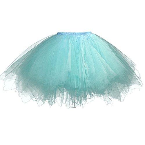 Feoya - Jupe Tutu Adulte Femme Ballet Jupe en Tulle Courte Multi Couches Lger pour Fte Danse Spectacle Taille lastique Bleu Clair