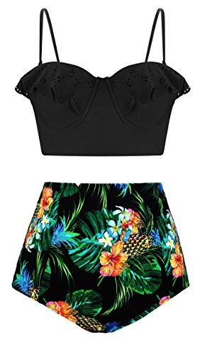 (Angerella Black Underwired Pin-up Bikini Top High Leg Swimsuit Bottom Ladies Cute Swimwear,M)