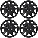 """Hubcaps for Standard Steel Wheels (Pack of 4) Wheel Covers - Snap On - Choose a Size and Color (Black Matte, Fits 15"""" Inch Wheel)"""