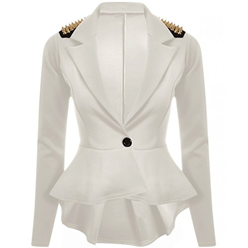 Forever Womens Long Sleeves Plain Spikes Shoulder Peplum Button -