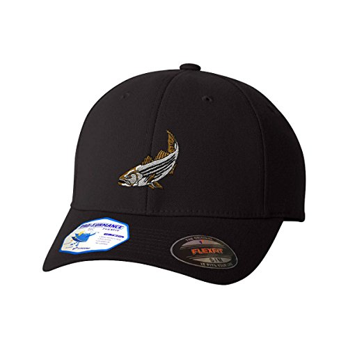 Striped Bass Flexfit Pro-Formance Embroidered Cap Hat Black Small/Medium (Visor Embroidered Bass)