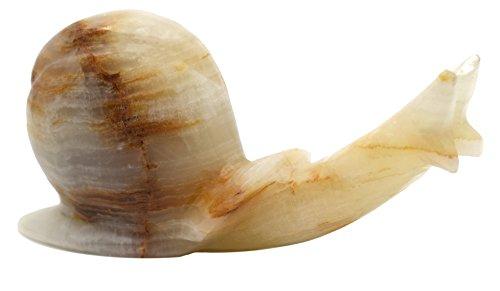 (Mossy Green Onyx Aragonite Snail Figure, 6