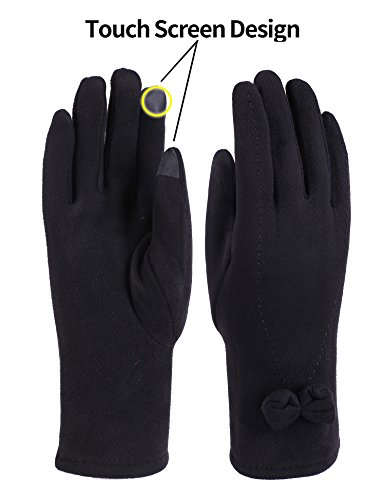 Fleece Windproof Gloves (Women Winter Bowknot Gloves Touch Screen Thick Warm Windproof Adult Hand Outdoor Mittens Gloves (Fleece Lining) (BLACK))