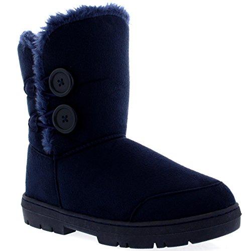 Mujeres Doble Button totalmente alineada botas piel impermeable de la nieve del invierno Marina