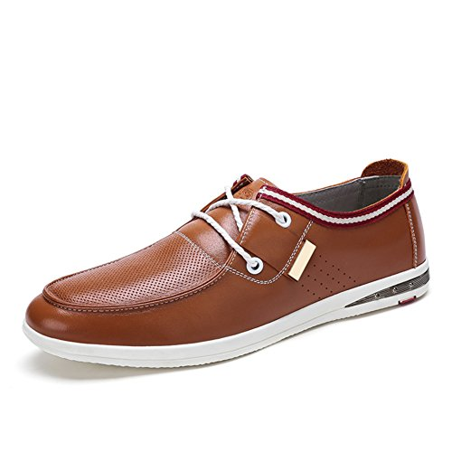 Mens Leather Casual Shoes Dress Herbst Business Hochzeit Mode Rutschen Schwarzbraun Braun