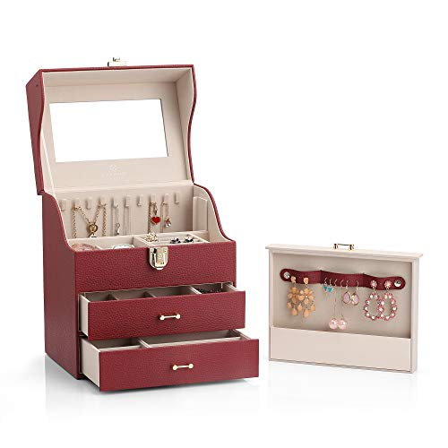 Vlando Large Jewelry Box Organizer for Necklaces Earrings Rings, Special Design of Necklaces Earrings Hanging Storage (Burgundy) (Jewelry Burgundy Leather)