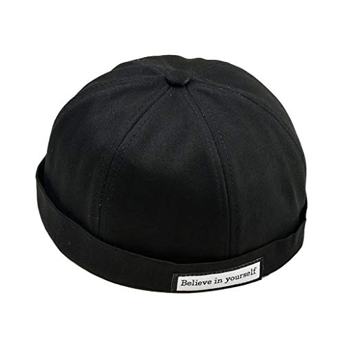 QueenMMUnisex Men Womens Brimless Ball Skull Caps Skullcap Beanie Worker Sailorcap Rolled Cuff Retro Sailor Hat Black