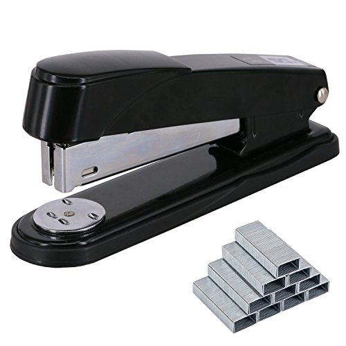 EWO'S New stapler with staples, long arm stapler with 1000 staples 50 sheets print papers-black