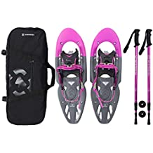 Winterial Yukon Snowshoes 25-Inch Lightweight All Terrain Women's Pink Snow Shoes with Carry Bag and Adjustable Poles