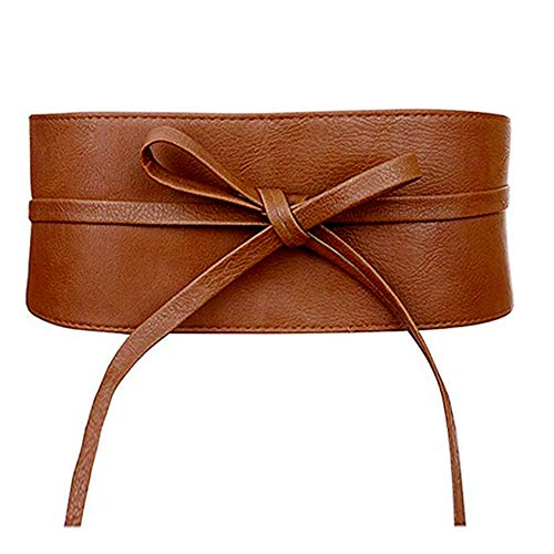 Sofia-T Womens Obi Belt Bowknot Self Tie Wrap Waist Cinch Faux Leather Dress Belt (Tan-leather, One size)