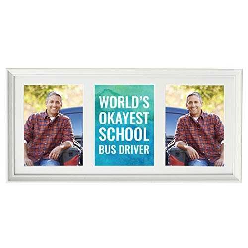 Andaz Press 20.5-Inch Framed Collage Picture Wall Art Gift, World's Okayest School Bus Driver, 1-Pack, Christmas Birthday, Includes Multi Photo White Frame to Display Three 5x7-Inch Photos or Art