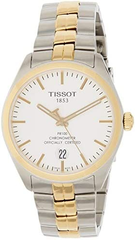Tissot PR100 Silver Dial Two Tone Stainless Steel Mens Watch T1014512203100