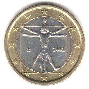 - 2002 Italy Bi-metallic 1 Euro Coin KM#216 - Leonardo da Vinci Vitruvian Man