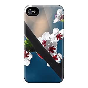 Forever Collectibles Beautiful Red White Blossoms Hard Snap-on Iphone 4/4s Case