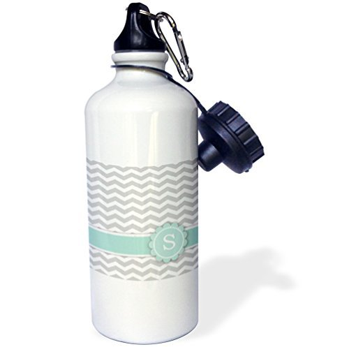Letter S Monogrammed On Grey And White Chevron With Mint Gray Zigzags Personal Initial Zig Zags Sports Water Bottle Stainless Steel Water Bottle for Women Men Kids