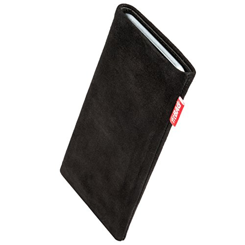 fitBAG Folk Black Custom Tailored Sleeve for Nokia 6500 Slide. Fine Suede Leather Pouch with Integrated Microfibre Lining for Display ()