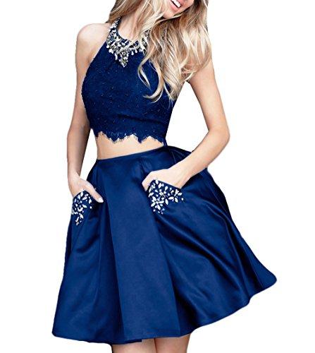 Kurze Party Blau Kleider Spitze Süße D W Navy Ballkleider Mädchens Satin Stücke Zwei O 15 Formales Cocktailkleider AfqXvx