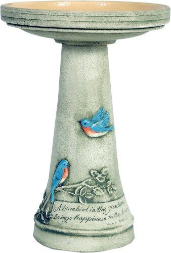 Bluebird Birdbath with Glazed Interior Pedestal Set by Burley ()
