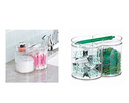 iDesign Clarity Plastic Stackable Makeup and Cosmetic Storage Canister Container with Two Compartments for Bathroom, Vanity, Kitchen, Bedroom, 6.12
