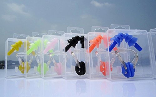 Adults Pairs Protector for Swimming Silicone Ear Plugs + Nose Clip Set