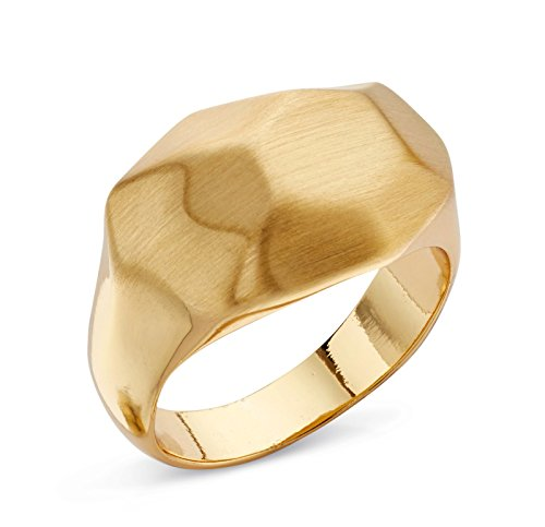 Satin Finish Band Ring (Wide Gold Band Ring | Hammered Ring | Stunning Thick Gold Ring | Gold Rings | Size 7 | Authenticity Ring)