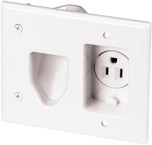 - EATON 35MRW-SP-L Recessed Multimedia Cable Wall Plate with Single Receptacle, White